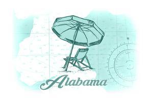 Alabama - Beach Chair and Umbrella - Teal - Coastal Icon by Lantern Press