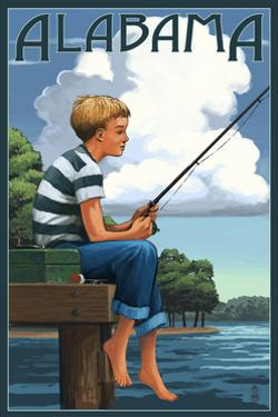 Alabama - Boy Fishing by Lantern Press