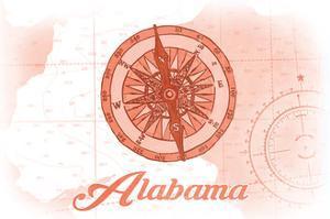 Alabama - Compass - Coral - Coastal Icon by Lantern Press