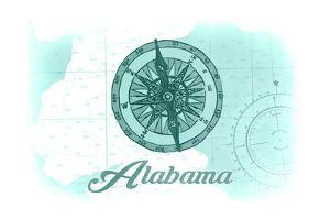 Alabama - Compass - Teal - Coastal Icon by Lantern Press