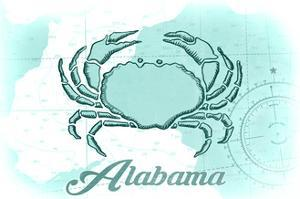 Alabama - Crab - Teal - Coastal Icon by Lantern Press