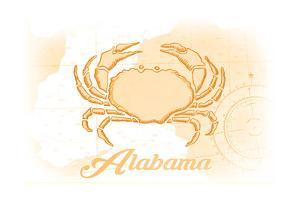 Alabama - Crab - Yellow - Coastal Icon by Lantern Press