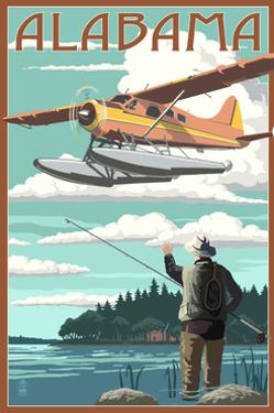 Alabama - Float Plane and Fisherman by Lantern Press