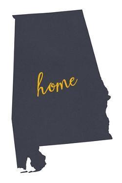 Alabama - Home State- Gray on White by Lantern Press