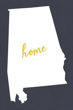 Alabama - Home State- White on Gray by Lantern Press