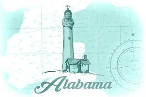 Alabama - Lighthouse - Teal - Coastal Icon by Lantern Press
