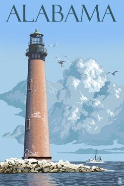 Alabama - Lighthouse by Lantern Press