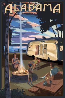 Alabama - Retro Camper and Lake by Lantern Press