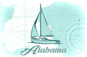 Alabama - Sailboat - Teal - Coastal Icon by Lantern Press