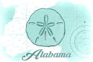 Alabama - Sand Dollar - Teal - Coastal Icon by Lantern Press