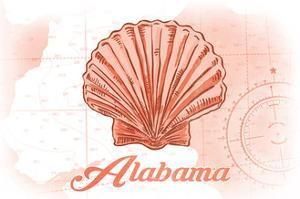 Alabama - Scallop Shell - Coral - Coastal Icon by Lantern Press
