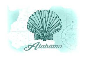 Alabama - Scallop Shell - Teal - Coastal Icon by Lantern Press