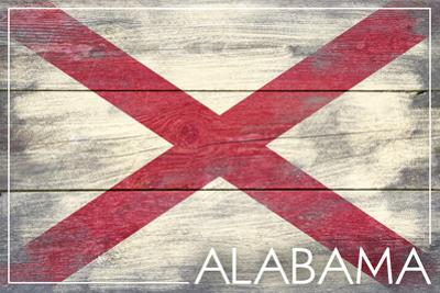 Alabama State Flag - Barnwood Painting by Lantern Press