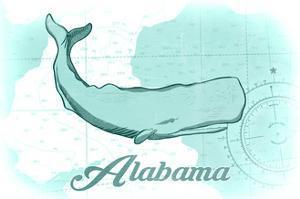 Alabama - Whale - Teal - Coastal Icon by Lantern Press