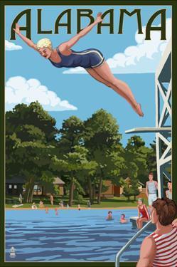 Alabama - Woman Diving and Lake by Lantern Press