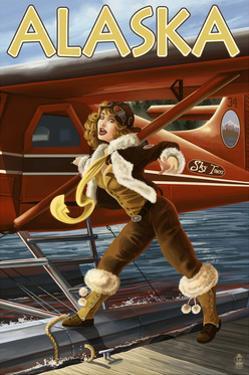Alaska - Aviator Pinup Girl by Lantern Press