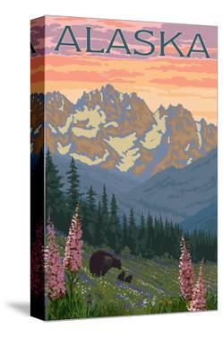 Alaska - Bear and Cubs Spring Flowers by Lantern Press