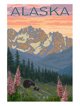 Alaska - Bear and Cubs Spring Flowers by Lantern Press
