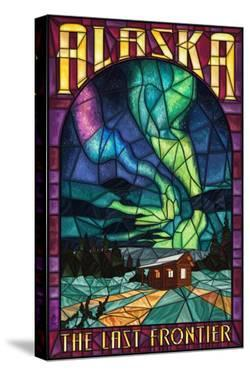 Alaska - Cabin and Northern Lights Stained Glass by Lantern Press