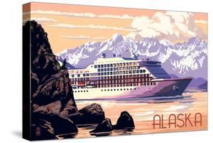 Alaska - Cruise Ship and Sunset by Lantern Press