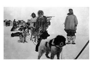 Alaska - Dog Sled Team and Men in Parkas by Lantern Press