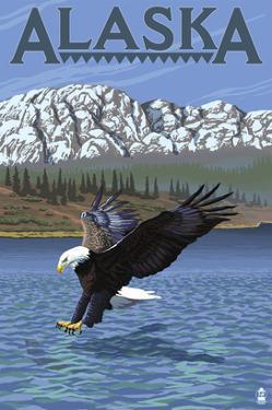 Alaska - Eagle Diving by Lantern Press