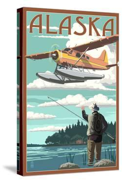 Alaska - Float Plane and Fisherman by Lantern Press