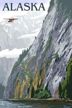 Alaska - Misty Fjords and Float Plane by Lantern Press