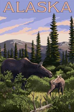 Alaska - Moose and Baby by Lantern Press