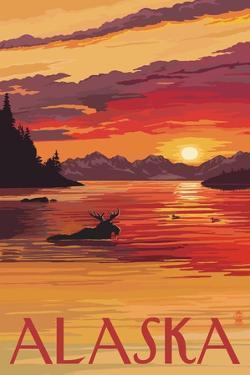 Alaska - Moose Swimming and Sunset by Lantern Press