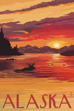 Alaska - Moose Swimming and Sunset by Lantern Press