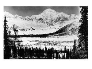Alaska - Mt McKinley and Mt Foraka by Lantern Press