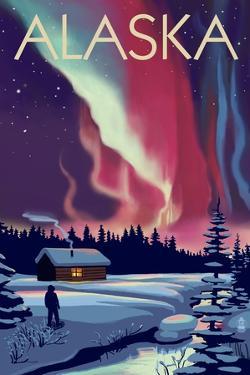 Alaska - Northern Lights and Cabin by Lantern Press