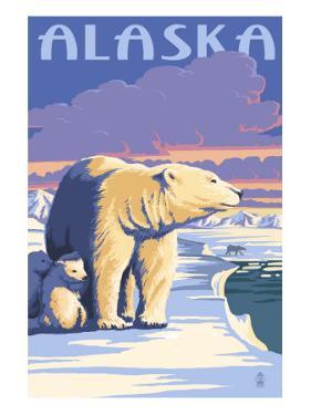 Alaska - Polar Bear at Sunrise by Lantern Press