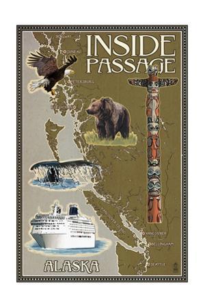 Alaska's Inside Passage Map by Lantern Press
