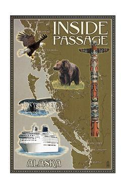 Alaska's Inside Passage Map by Lantern Press