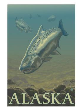 Alaska, Salmon View by Lantern Press