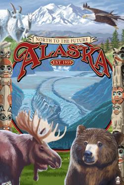 Alaska Scenes Montage by Lantern Press