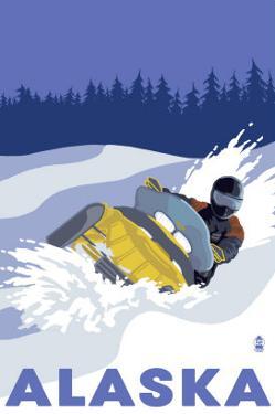 Alaska, Snowmobile Scene by Lantern Press