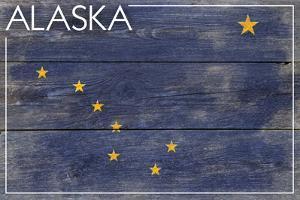 Alaska State Flag - Barnwood Painting by Lantern Press