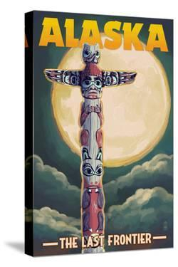 Alaska - Totem Pole and Full Moon by Lantern Press