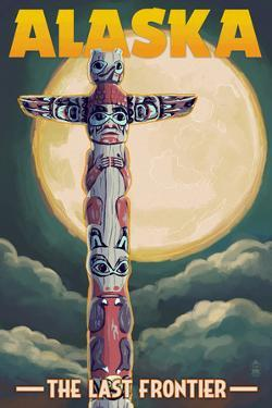 Alaska - Totem Pole and Full Moon by Lantern Press