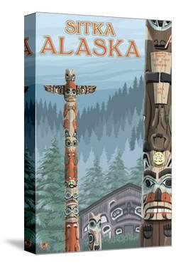 Alaska Totem Poles, Sitka, Alaska by Lantern Press