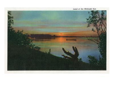 Alaska, View of a Midnight Sun by Lantern Press