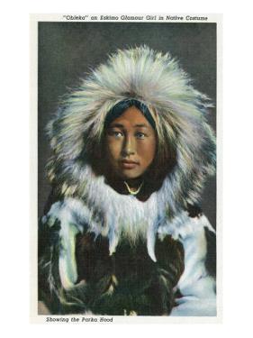 Alaska, View of Obleka, an Eskimo Native Girl in Costume by Lantern Press