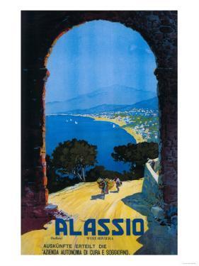 Alassio, Italy - West Italian Riviera Travel Poster - Alassio, Italy by Lantern Press
