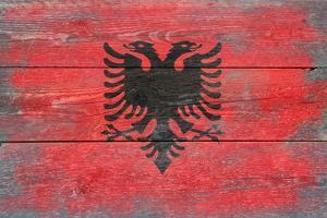 Albania Country Flag - Barnwood Painting by Lantern Press