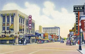 Albuquerque, New Mexico - Eastern View Up Central Avenue by Lantern Press