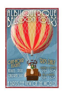 Albuquerque, New Mexico - Hot Air Balloon Tours - Vintage Sign by Lantern Press