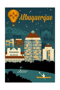 Albuquerque, New Mexico - Retro Skyline by Lantern Press